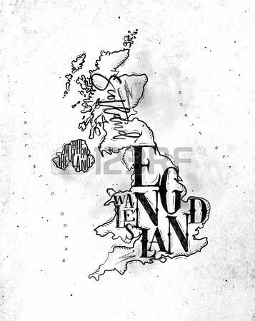 357x450 Vintage United Kingdom Map With Regions Inscription Scotland