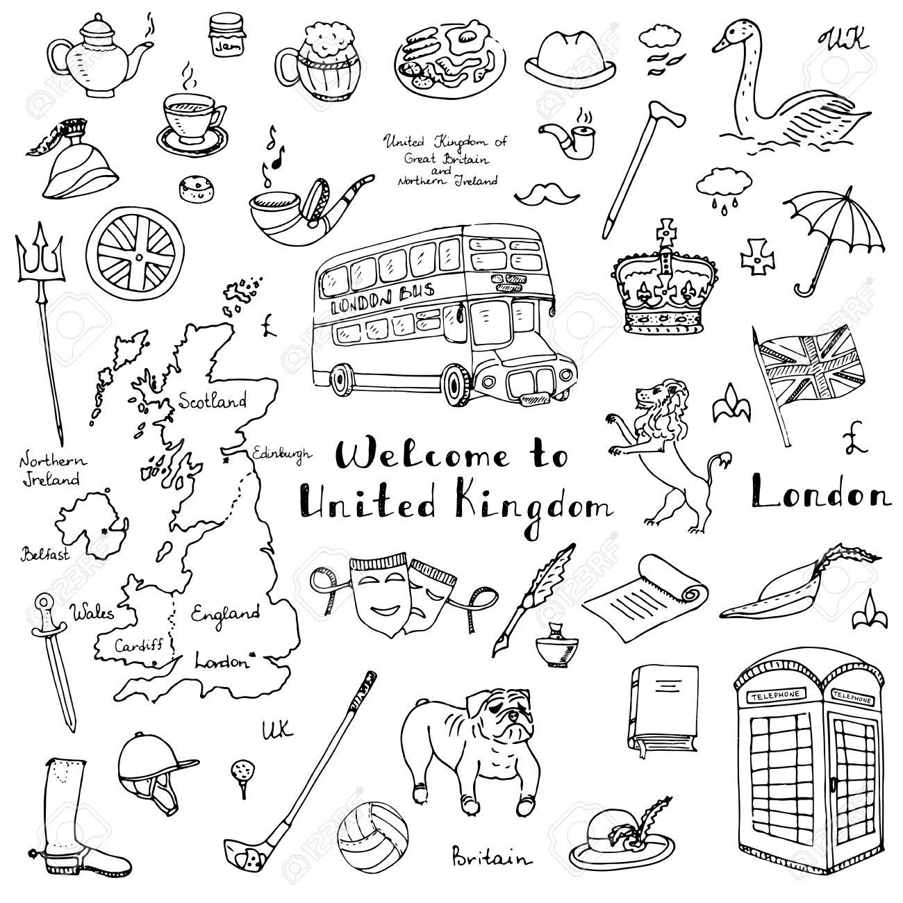 1300x1300 Hand Drawn Doodle United Kingdom Set Vector Illustration Uk Icons