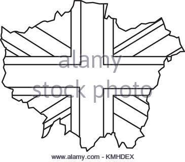 365x320 London Map With England Flag Inside Stock Vector Art
