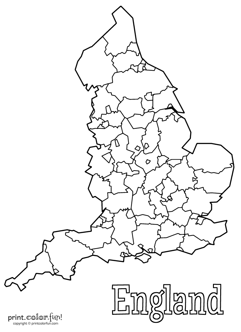 800x1100 Map Of England Coloring Page