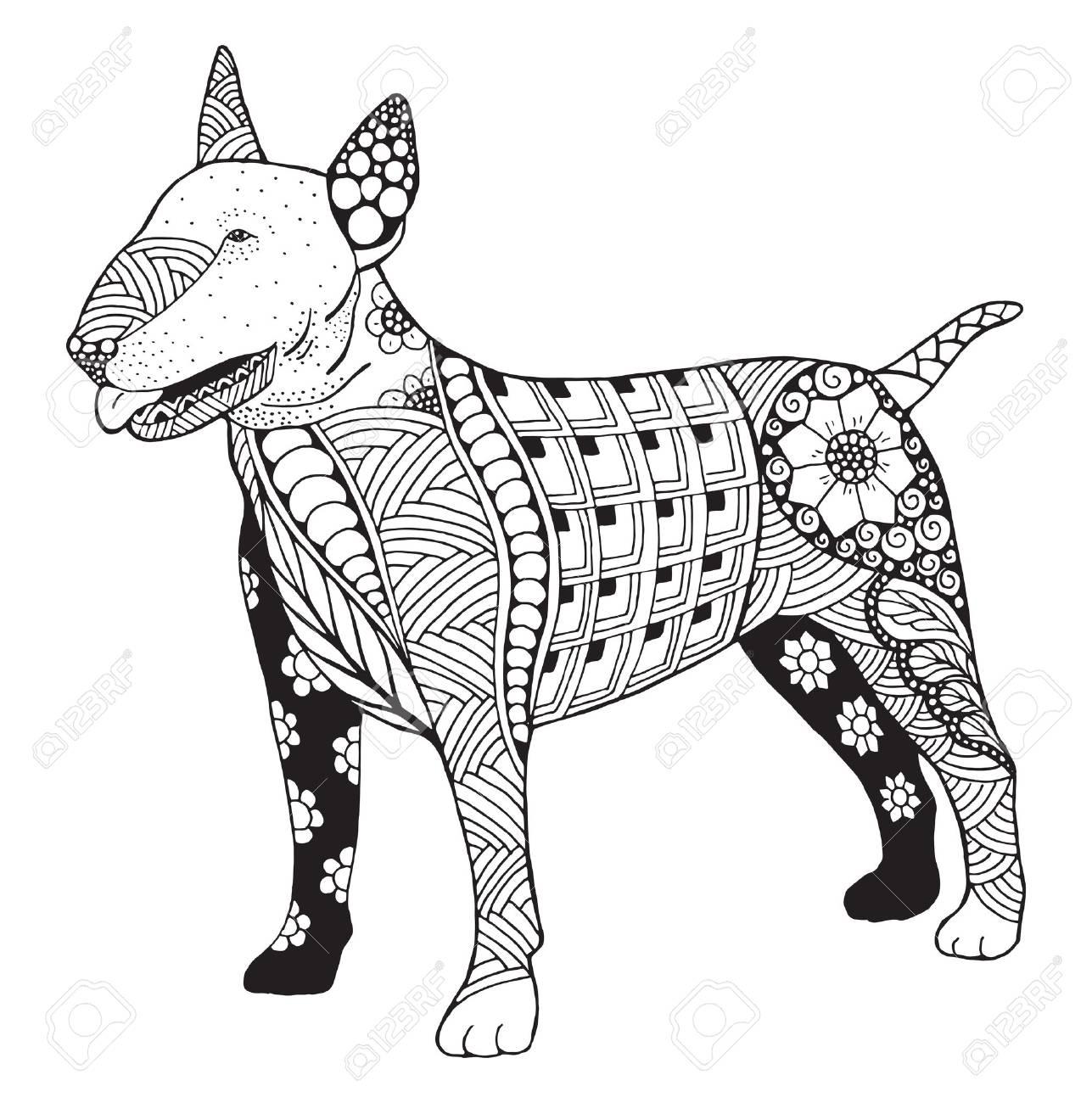 1287x1300 Bull Terrier Dog Zentangle Doodle Stylized, Vector, Illustration