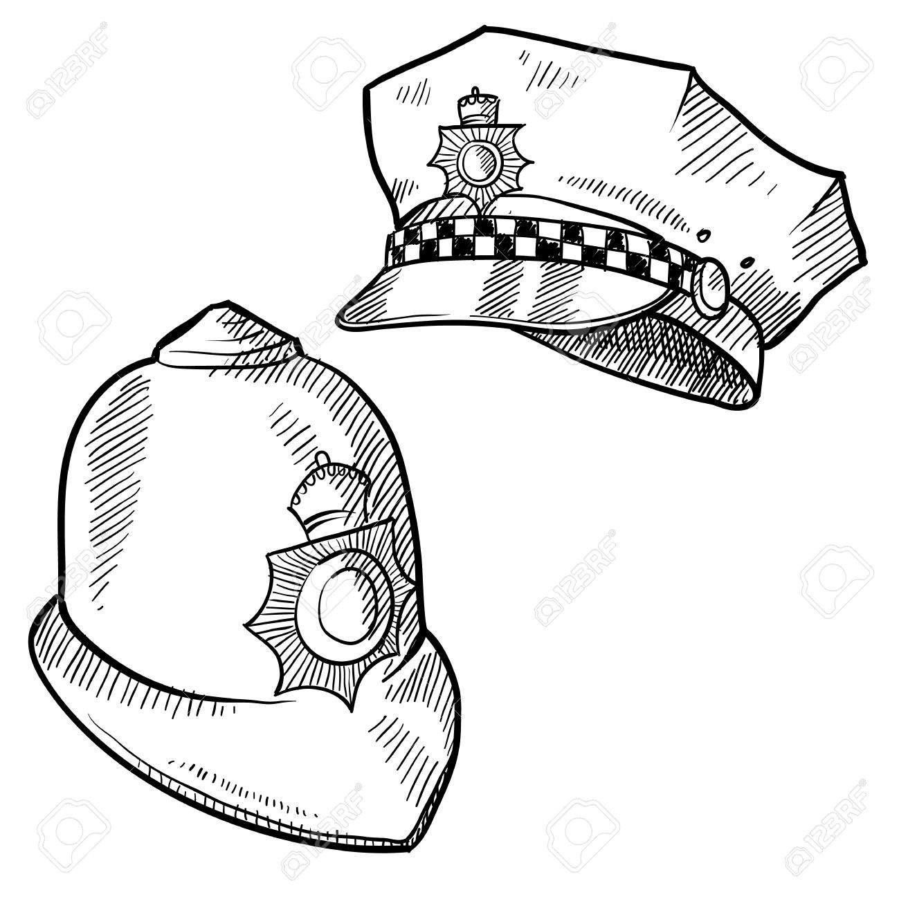 1299x1300 Doodle Style Police Hat Or And English Bobby Cap In Vector Format