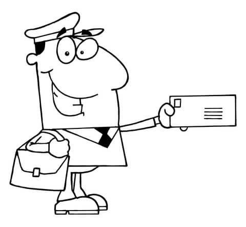 480x442 A Postal Carrier Holds A Envelope Coloring Page Free Printable