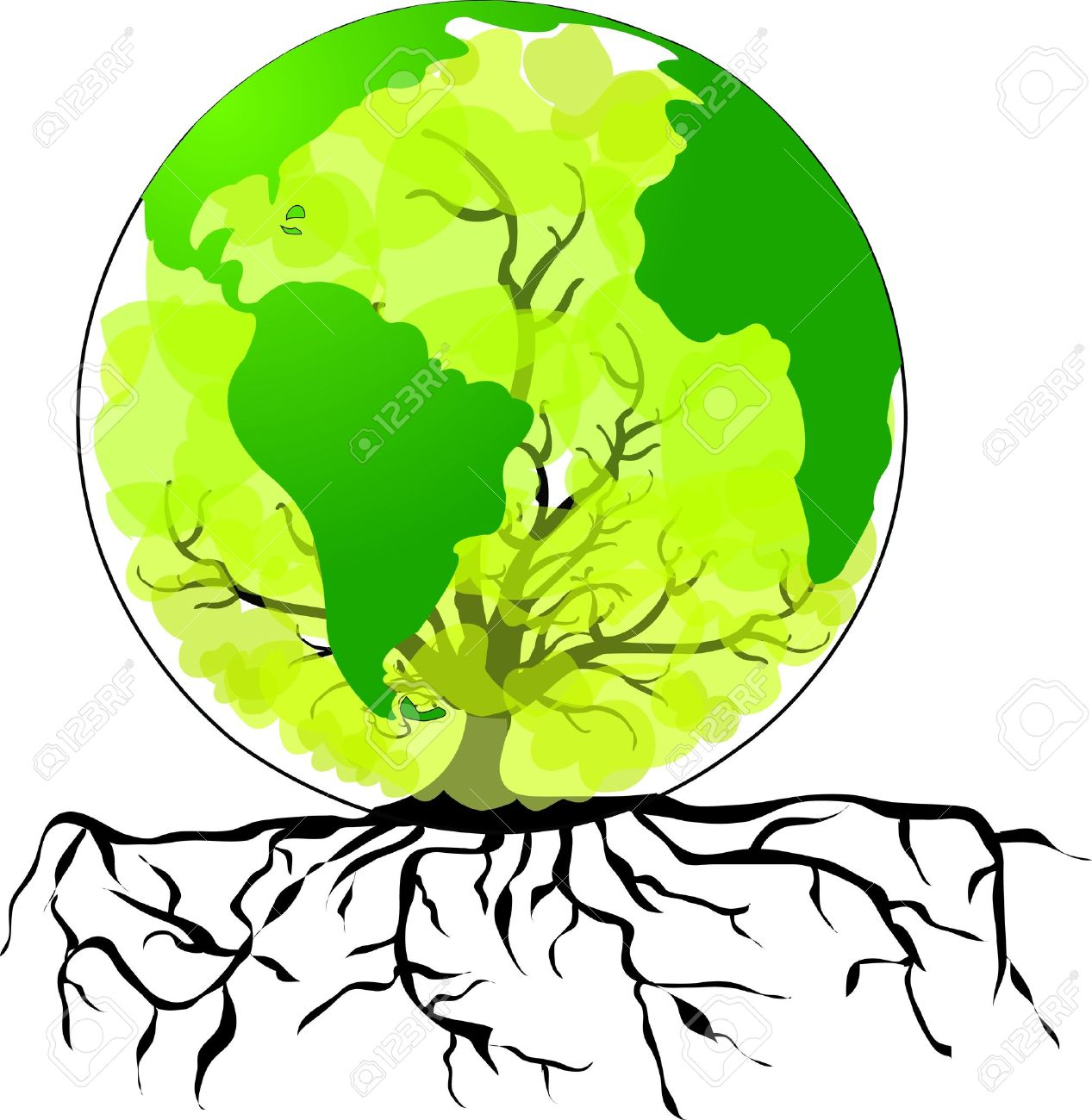 1267x1300 Environmental Concept Tree Forming The World Globe In Its Branches