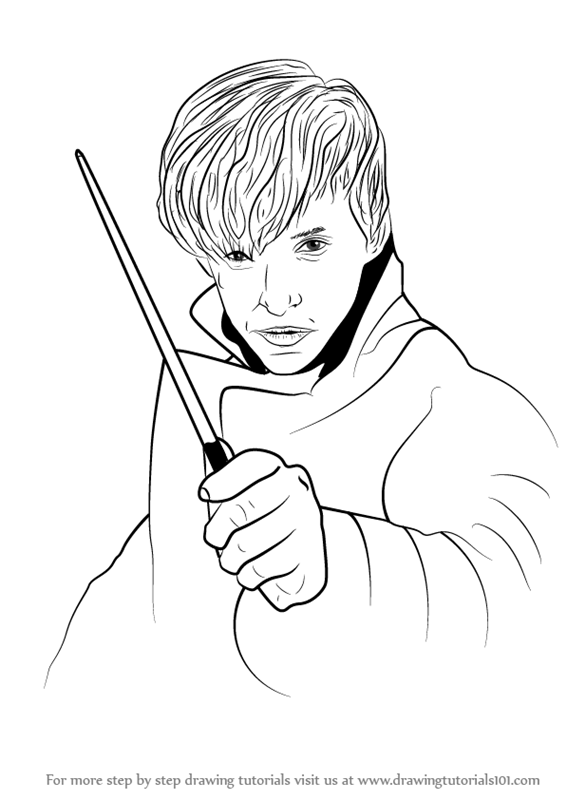 566x800 Learn How To Draw Newt Scamander From Harry Potter (Harry Potter