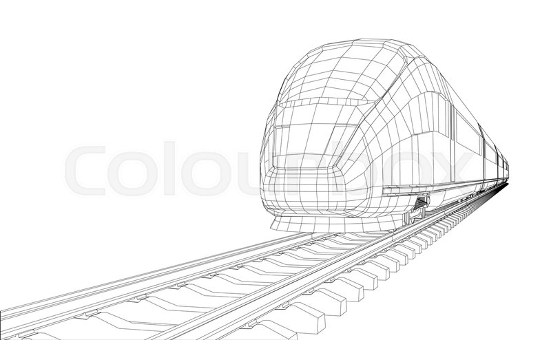 800x494 Train Outline Vector. Vector Rendering Of 3d. Wire Frame Style