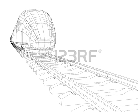 450x365 Abstract Polygonal High Speed Passenger Train. Traveling Concept