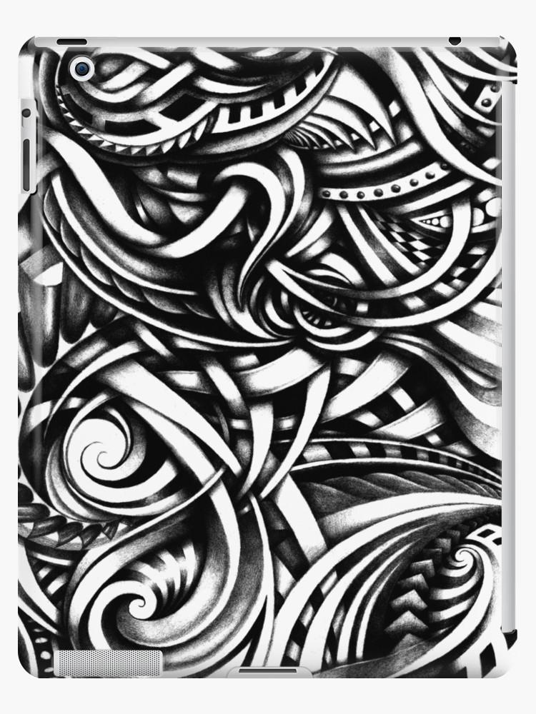 750x1000 Escher Like Hand Drawn Artistic Grey Depth Zen Doodle Ipad Cases