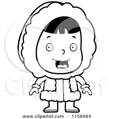 450x470 Cartoon Clipart Of A Black And White Cute Eskimo Girl Character
