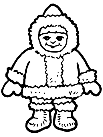 360x480 Cute Inuit Boy Coloring Page Free Printable Coloring Pages