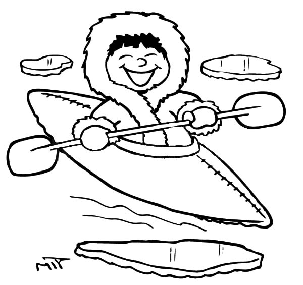 600x565 Eskimo Girl Kayaking Coloring Pages