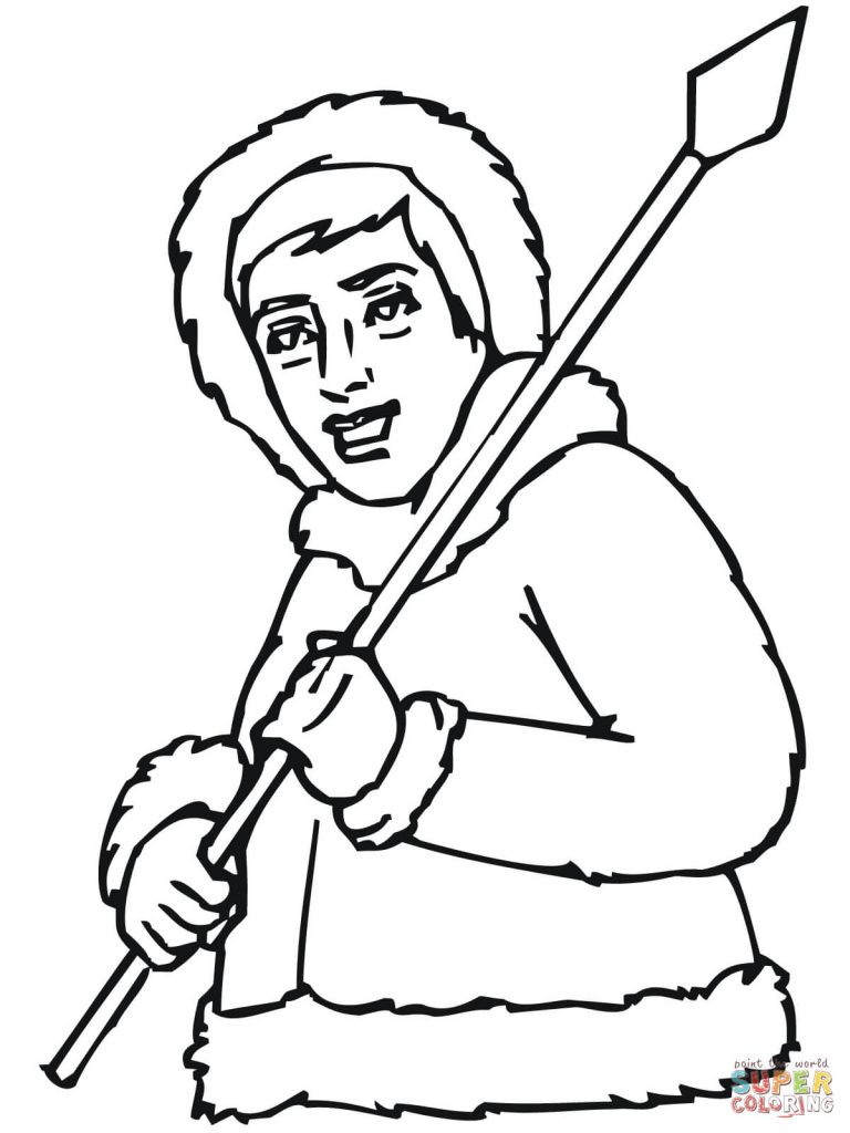 768x1024 Inuit Eskimo With Spear Coloring Page
