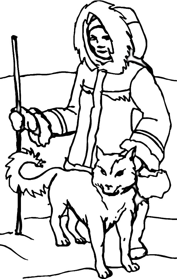 600x945 An Eskimo With Husky In The North Coloring Page Color Luna