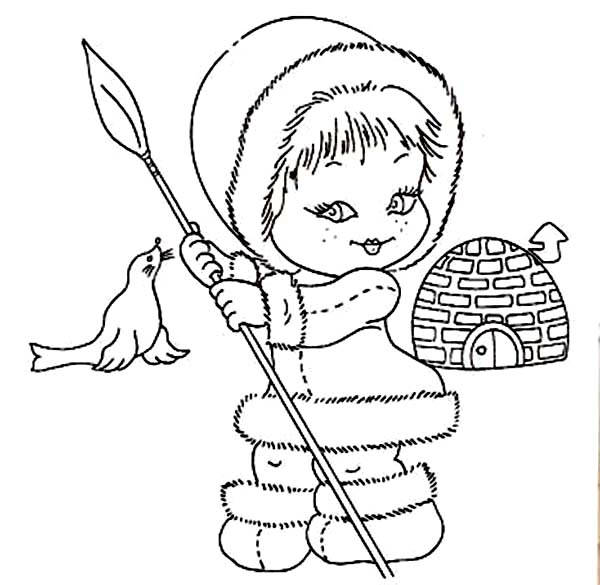 600x585 Beautiful Eskimo Girl Coloring Page Color Luna