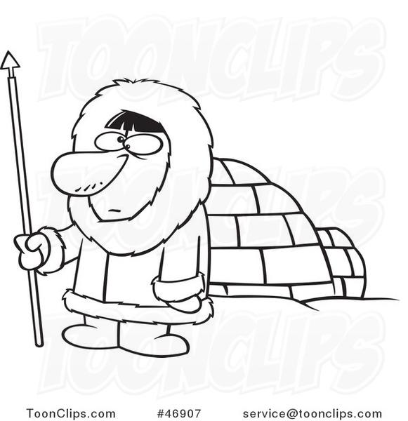 581x600 Black And White Cartoon Eskimo Hunter Guy By An Igloo