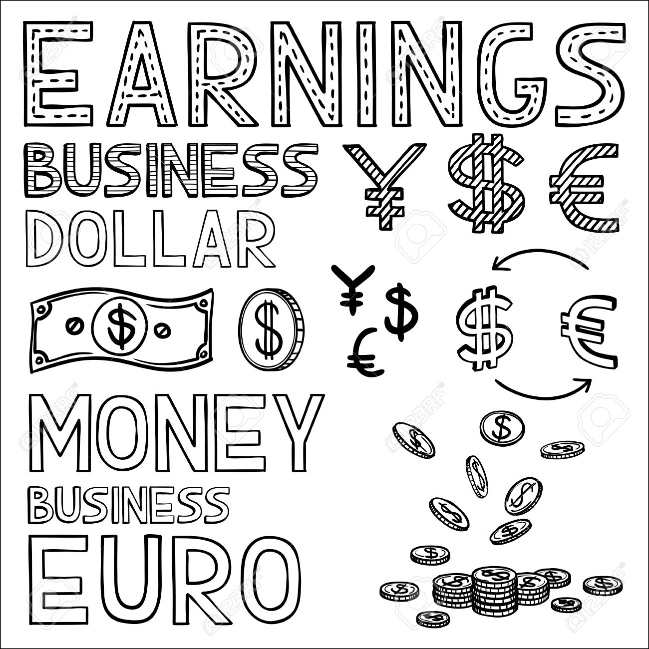 1300x1300 Hand Draw Finance And Money Doodle Sketch Business Icon, Dollar