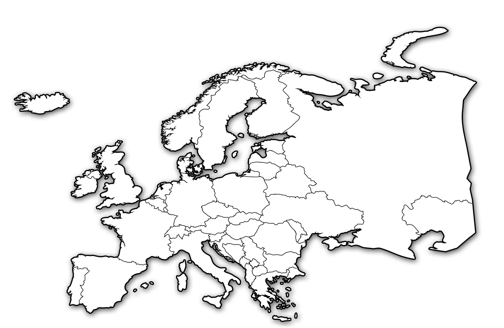 2000x1300 Europe Maps Political, Physical, Cities And Blank Outline