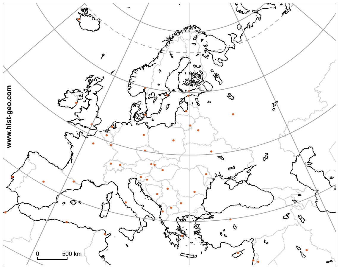 1140x900 Blank Map Of The European Continent (Countries, Capitals