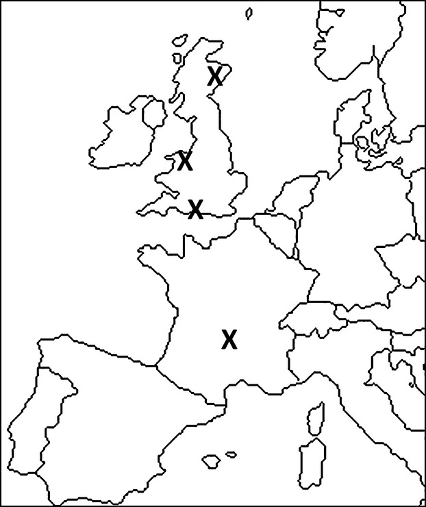 622x740 Map Of Western Europe Showing The Locations Of Each Site