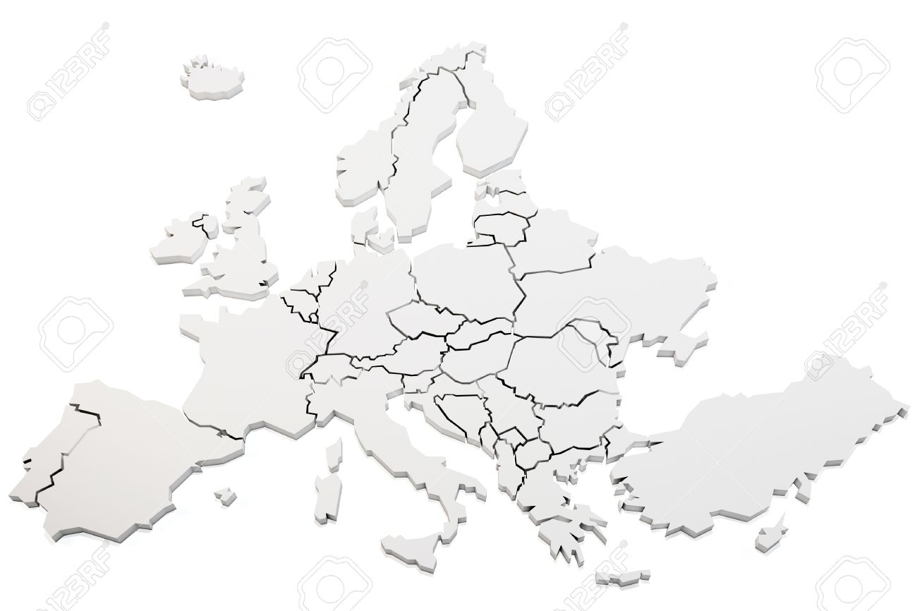 1300x866 3d Map Of Europe Rendering On White Background Stock Photo