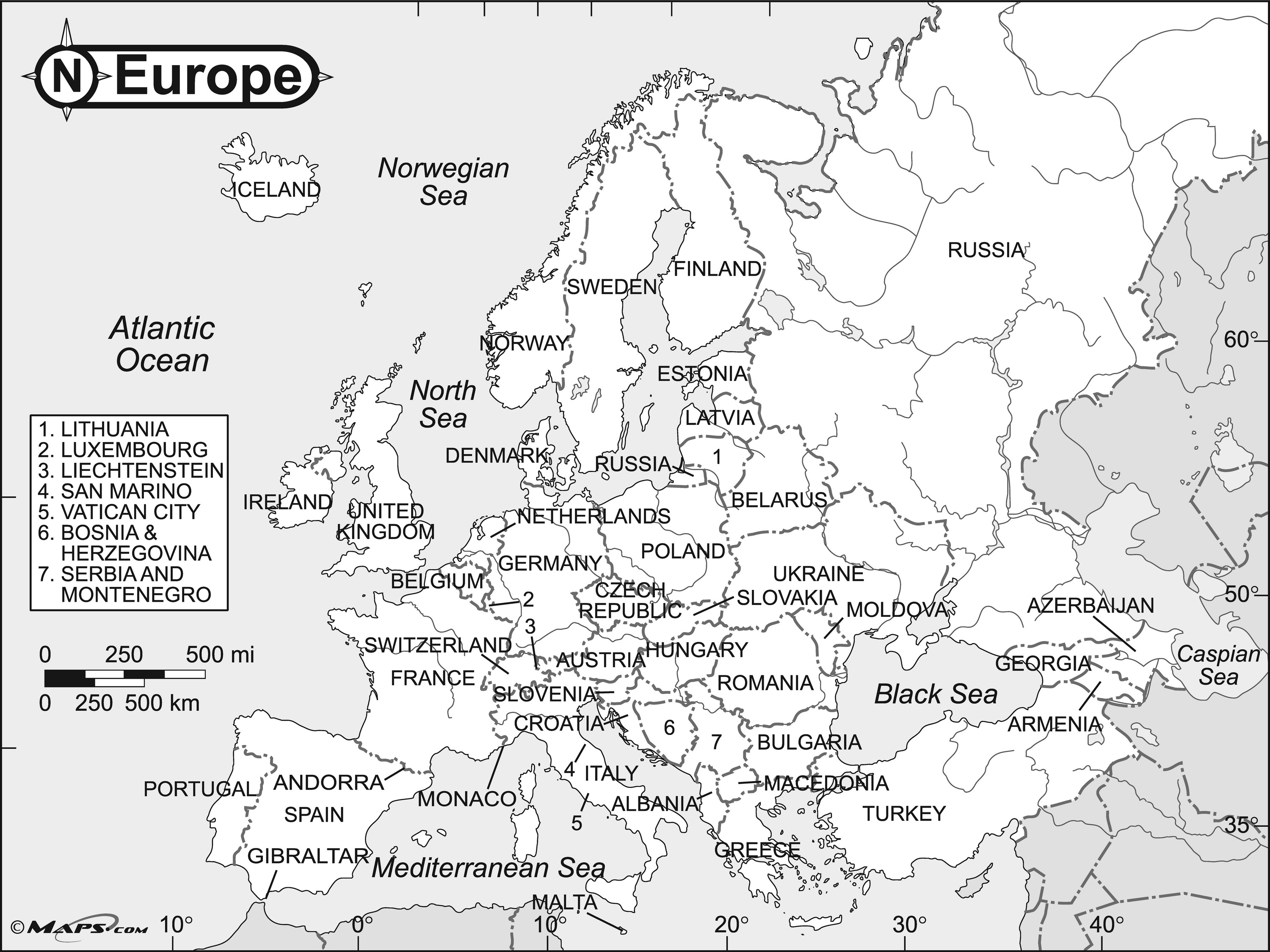 3000x2250 Europe Black Amp White Reference Map