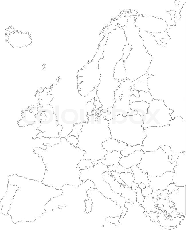 649x800 Europe Map Eps With Borders White Stock Vector Colourbox