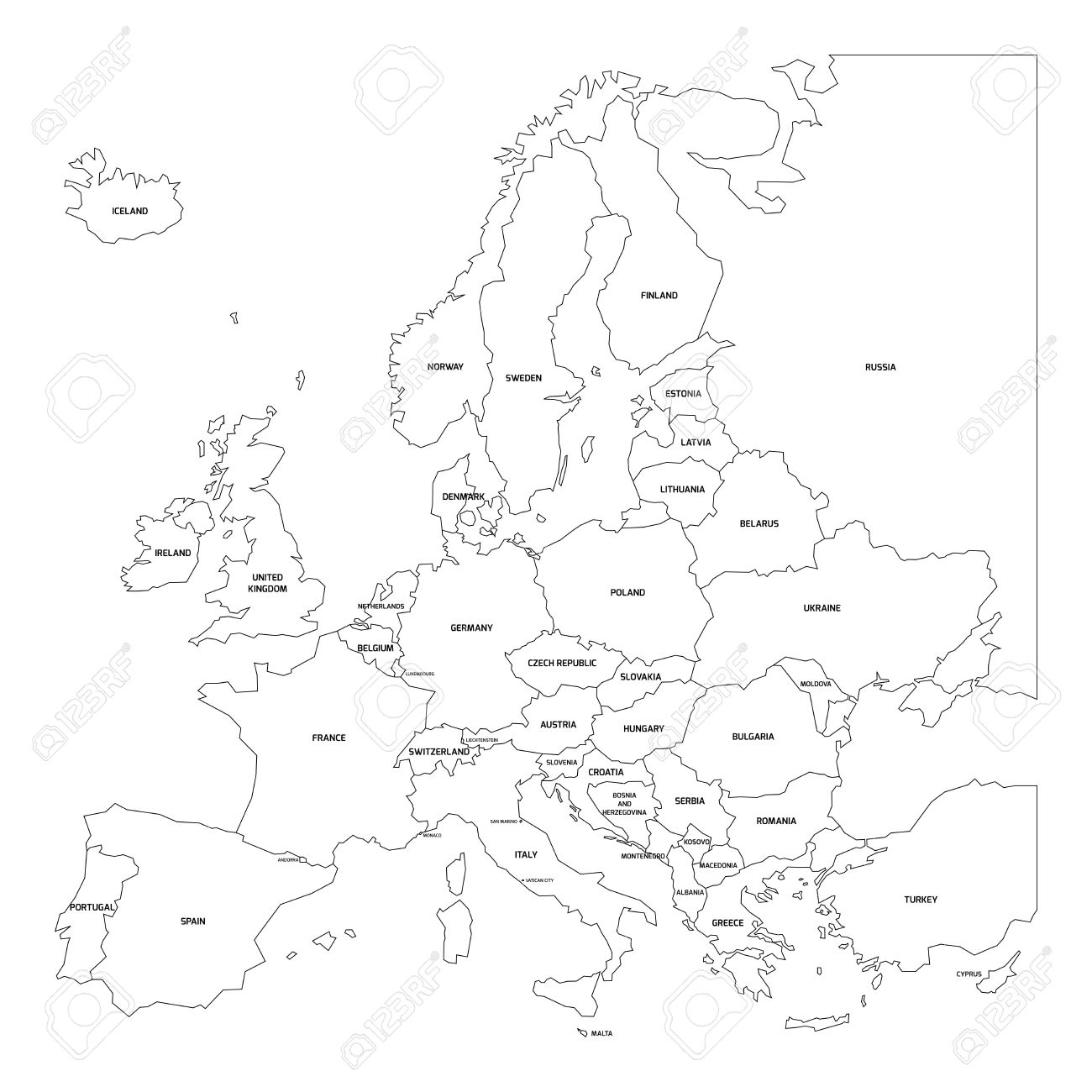 1300x1300 Outline Map Of Europe. Simplified Map Made Of Black State Contous