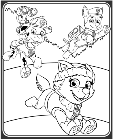 392x480 Everest, Marshall And Chase Coloring Page Free Printable