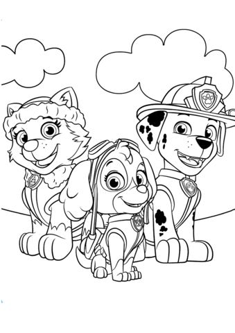 339x480 Everest, Marshall And Skye Coloring Page Free Printable Coloring