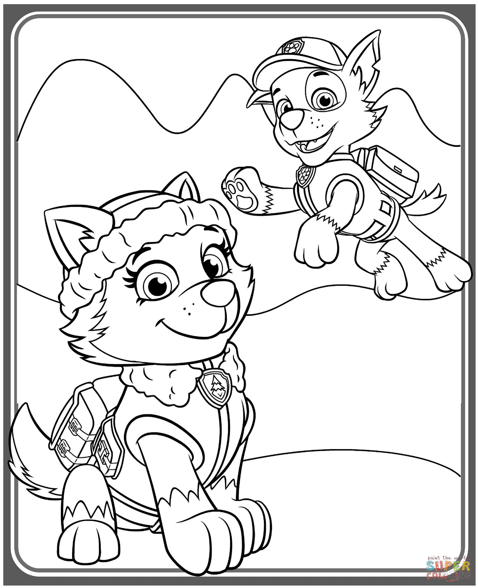 1554x1912 Everest And Rocky Coloring Page Free Printable Pages