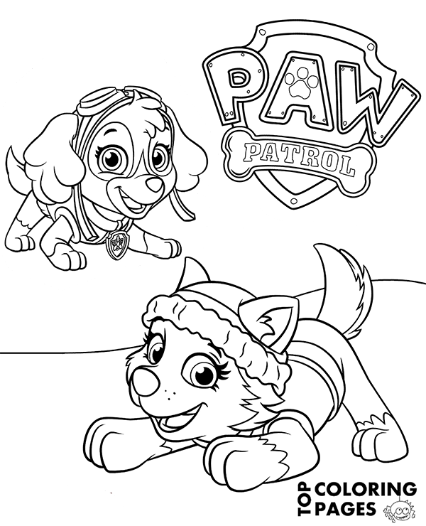 600x740 Everest And Skye On Printable Paw Patrol Coloring Page