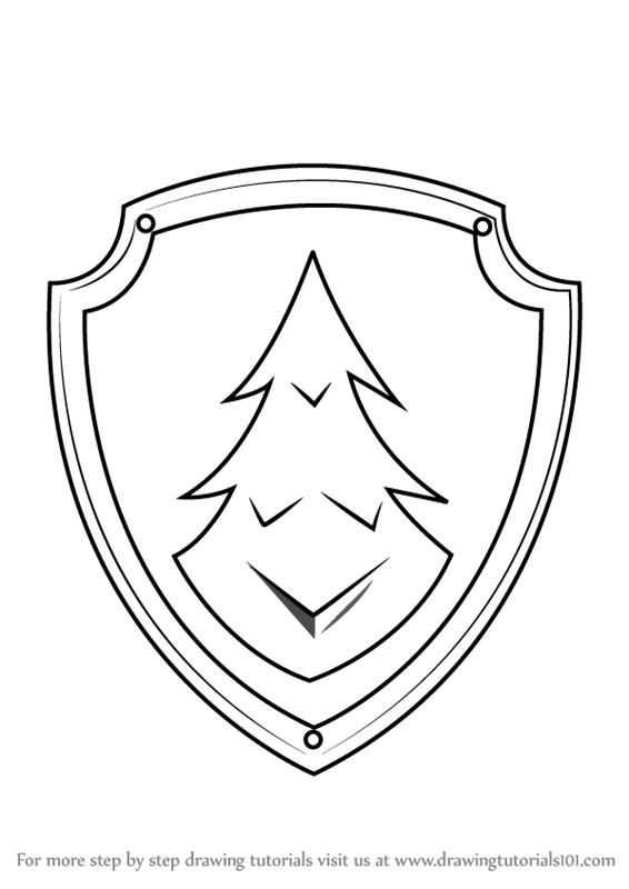 566x800 Learn How To Draw Everest Badge From Paw Patrol (Paw Patrol) Step