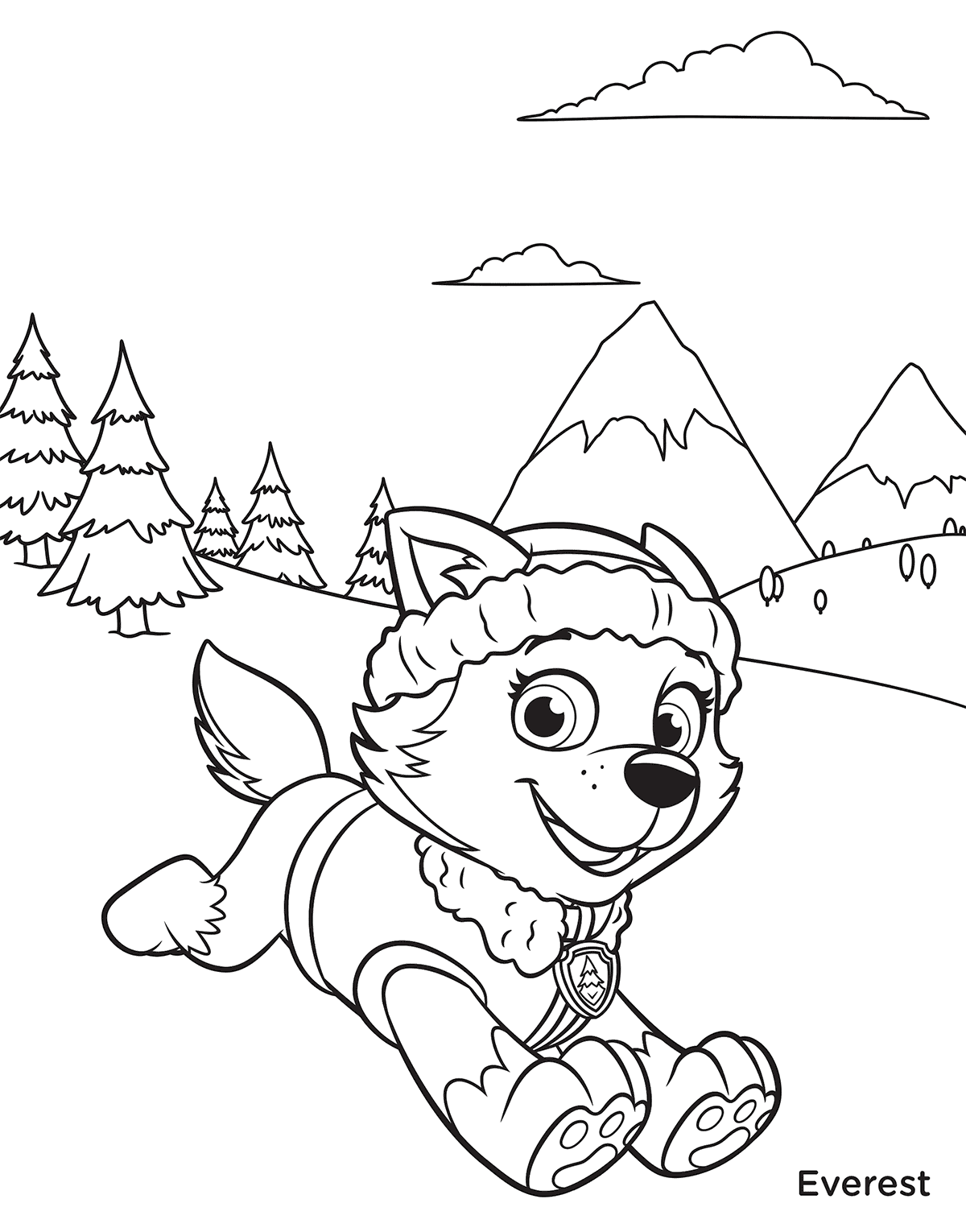 1200x1530 Paw Patrol Everest In Mountains Coloring Page