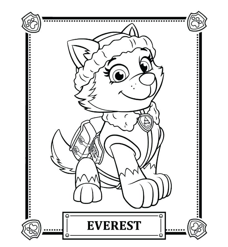 736x796 Paw Patrol Coloring Pages Free Printabl On Everest Marshall