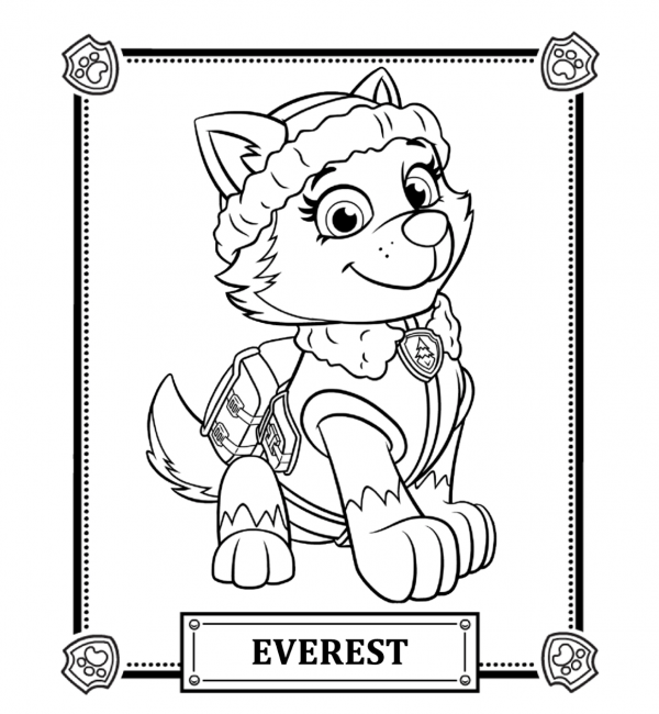 600x650 Paw Patrol Coloring Pages Everest Nice Coloring Pages For Kids