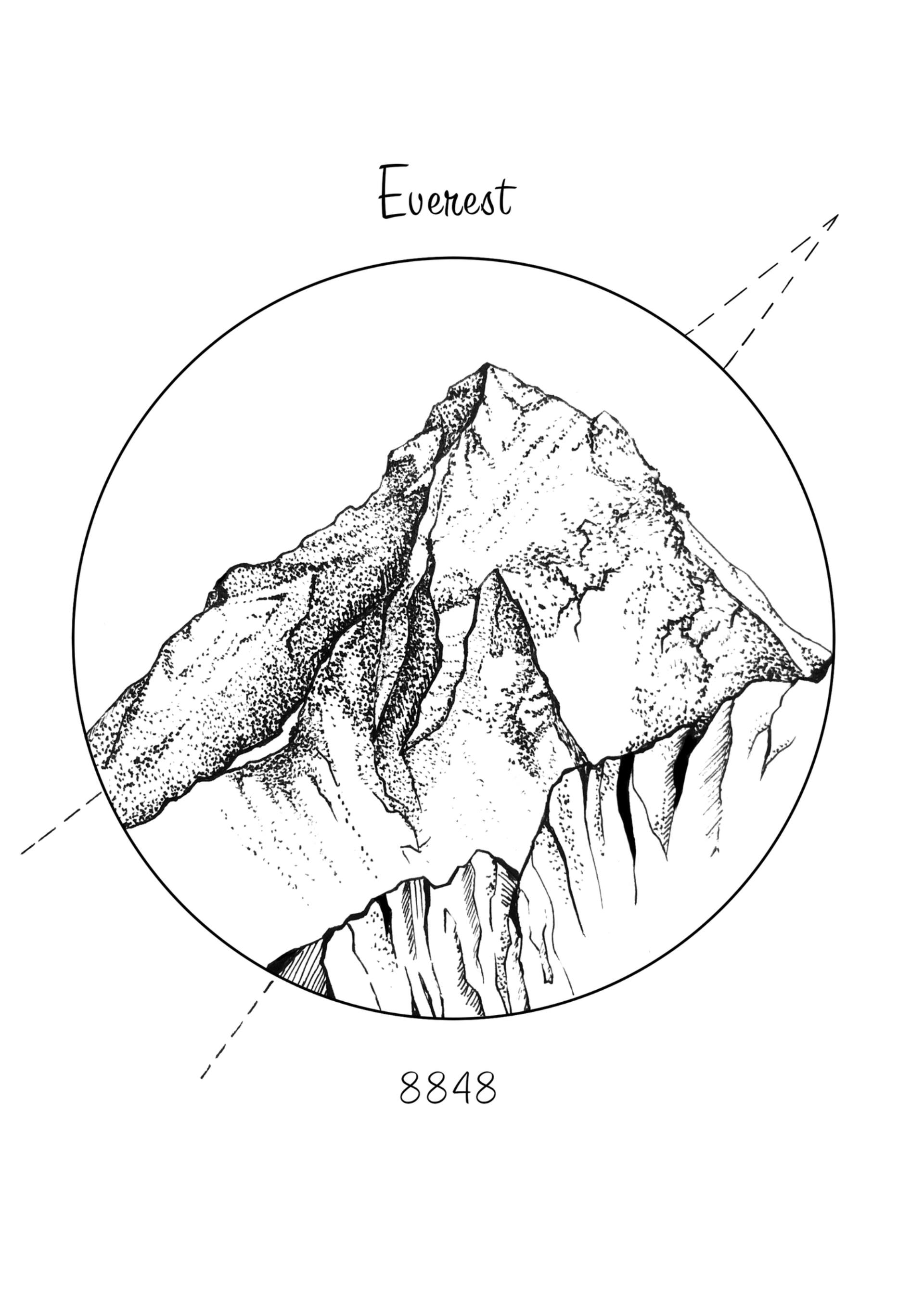 1920x2686 Saatchi Art Everest Drawing By Olga Druzhinina