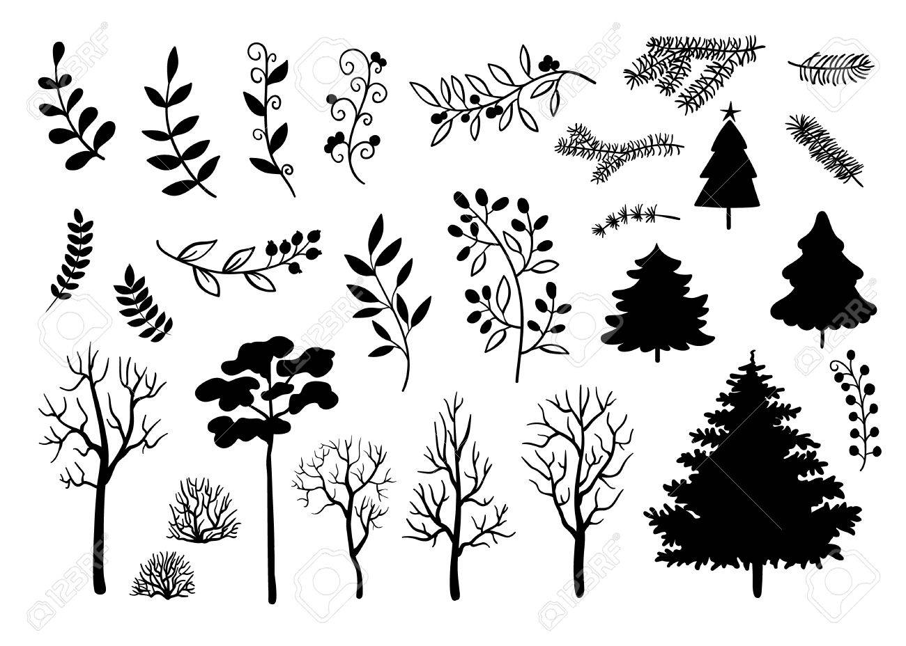 1300x928 Hand Drawn Black Silhouette Of Trees, Branches, Leaves Set. Birch