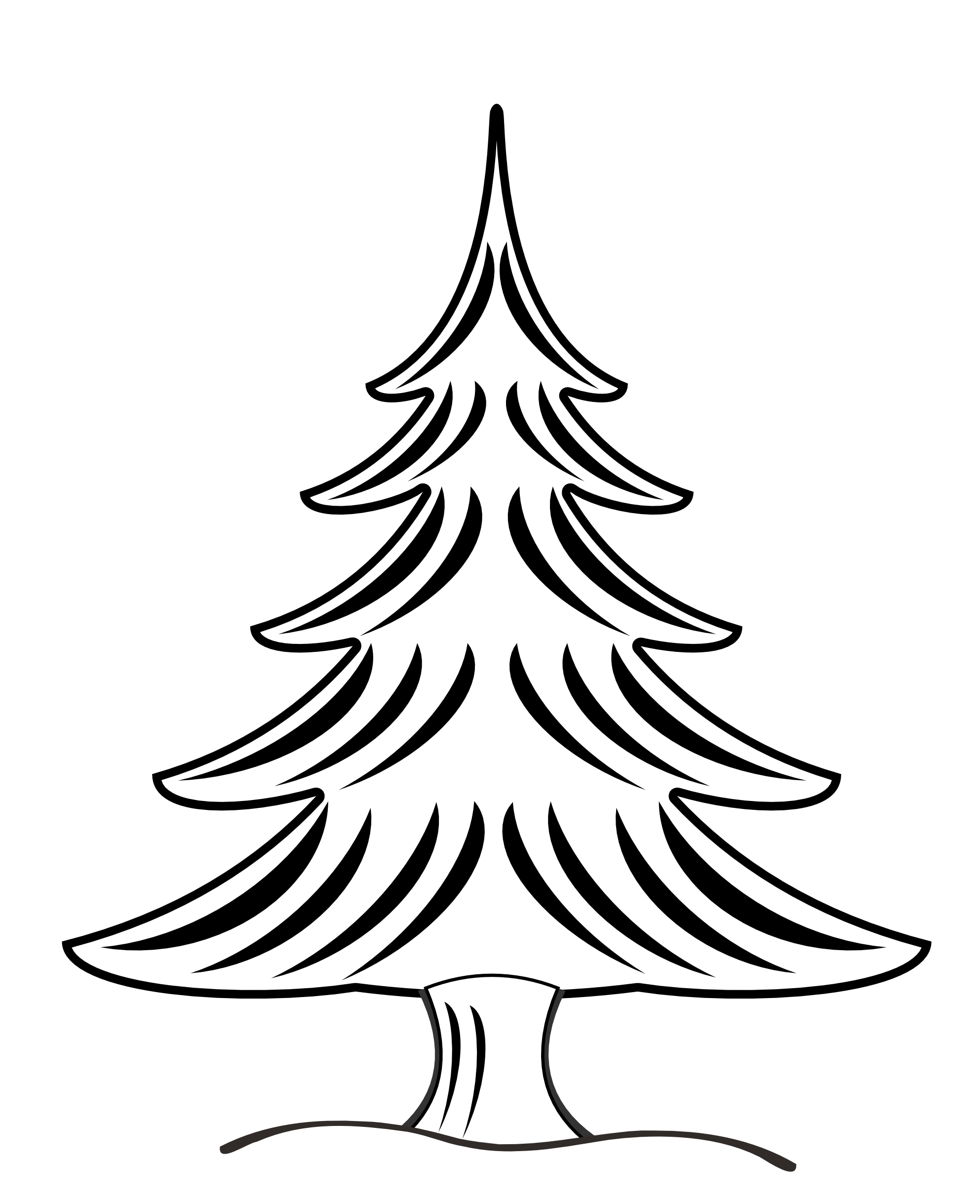 1979x2430 Pine Tree Clipart Line Drawing