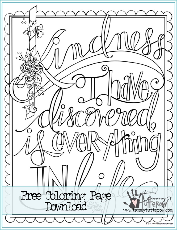 750x975 Free Coloring Page Kindness Is Everything Tammy Tutterow Designs