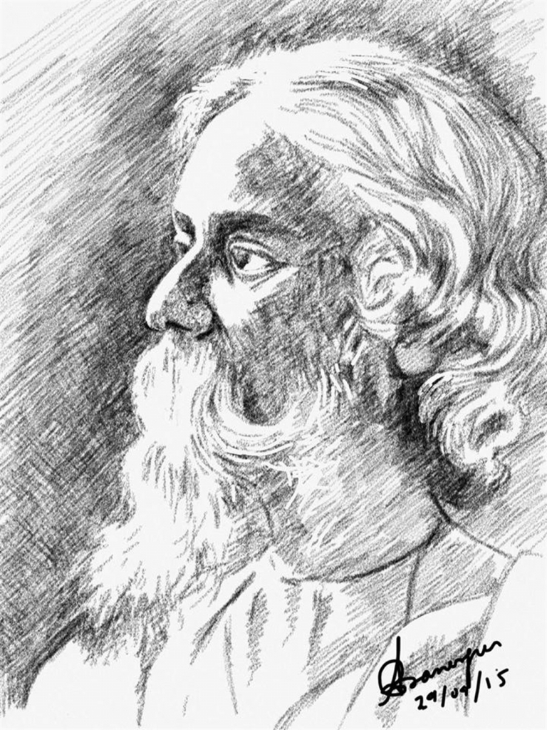 768x1024 Pencil Touch Rabindranath Tagore Drawing Pencil Sketch Swami