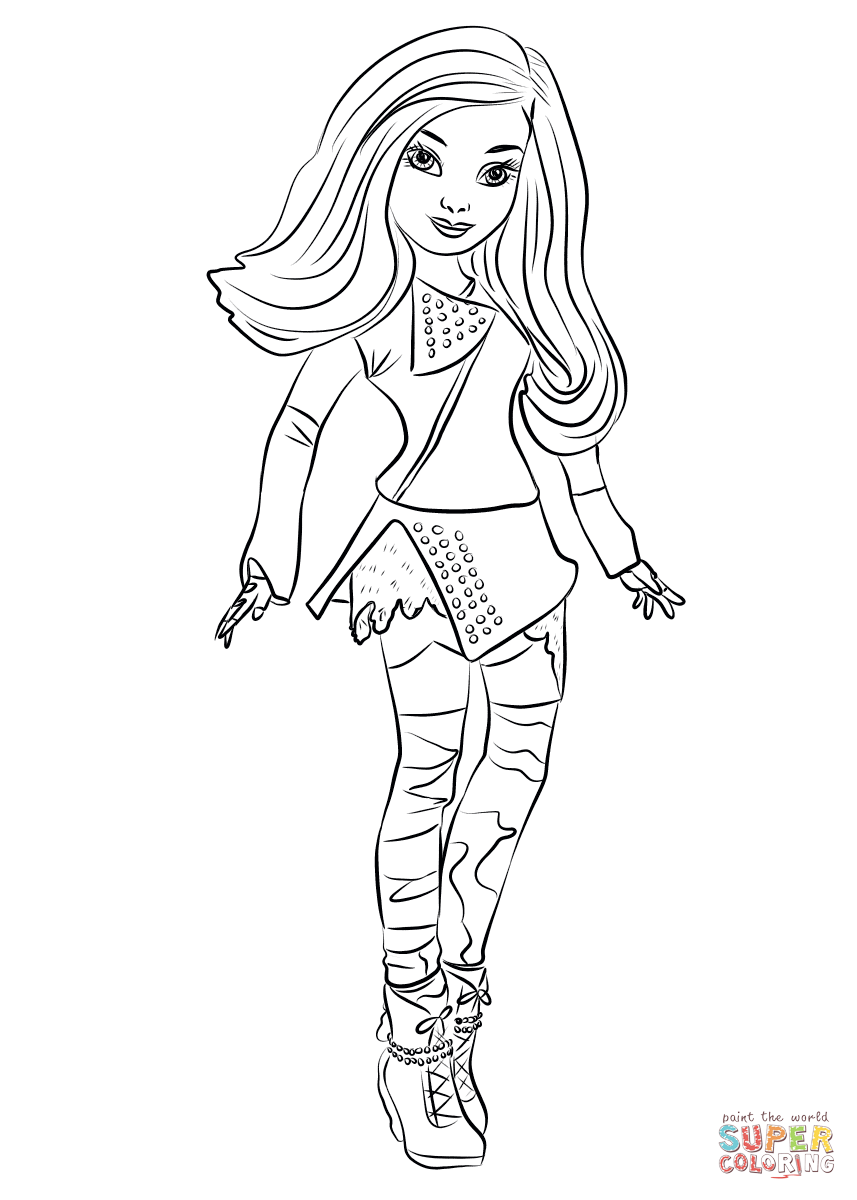 857x1200 Descendants Mal Coloring Page Free Printable Pages
