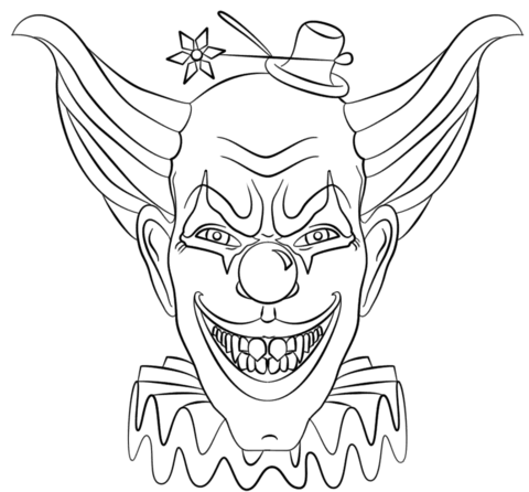 480x446 Evil Clown Face Coloring Page Free Printable Coloring Pages