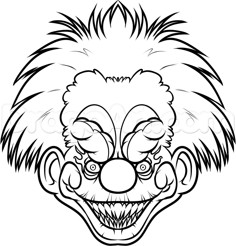 910x947 Killer Clowns Drawings Easy Way To Draw Scary Clowns Free