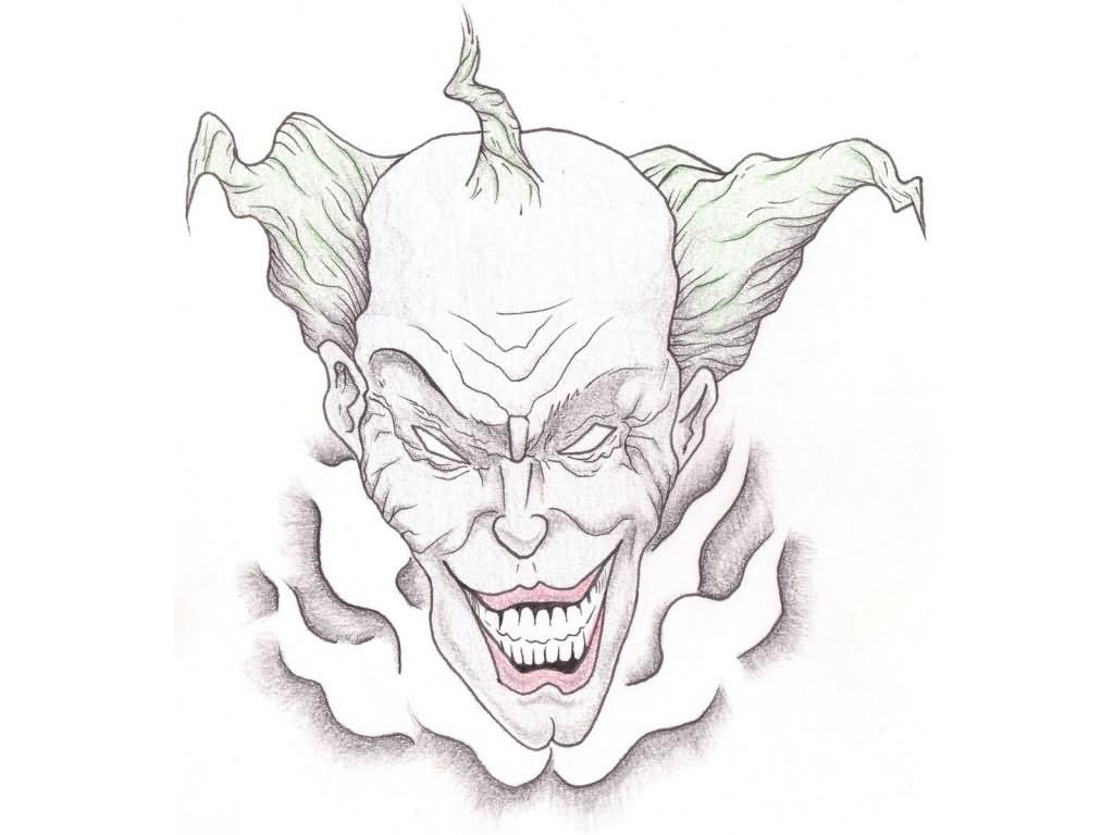 1024x768 Bad Evil Clown Tattoo Design