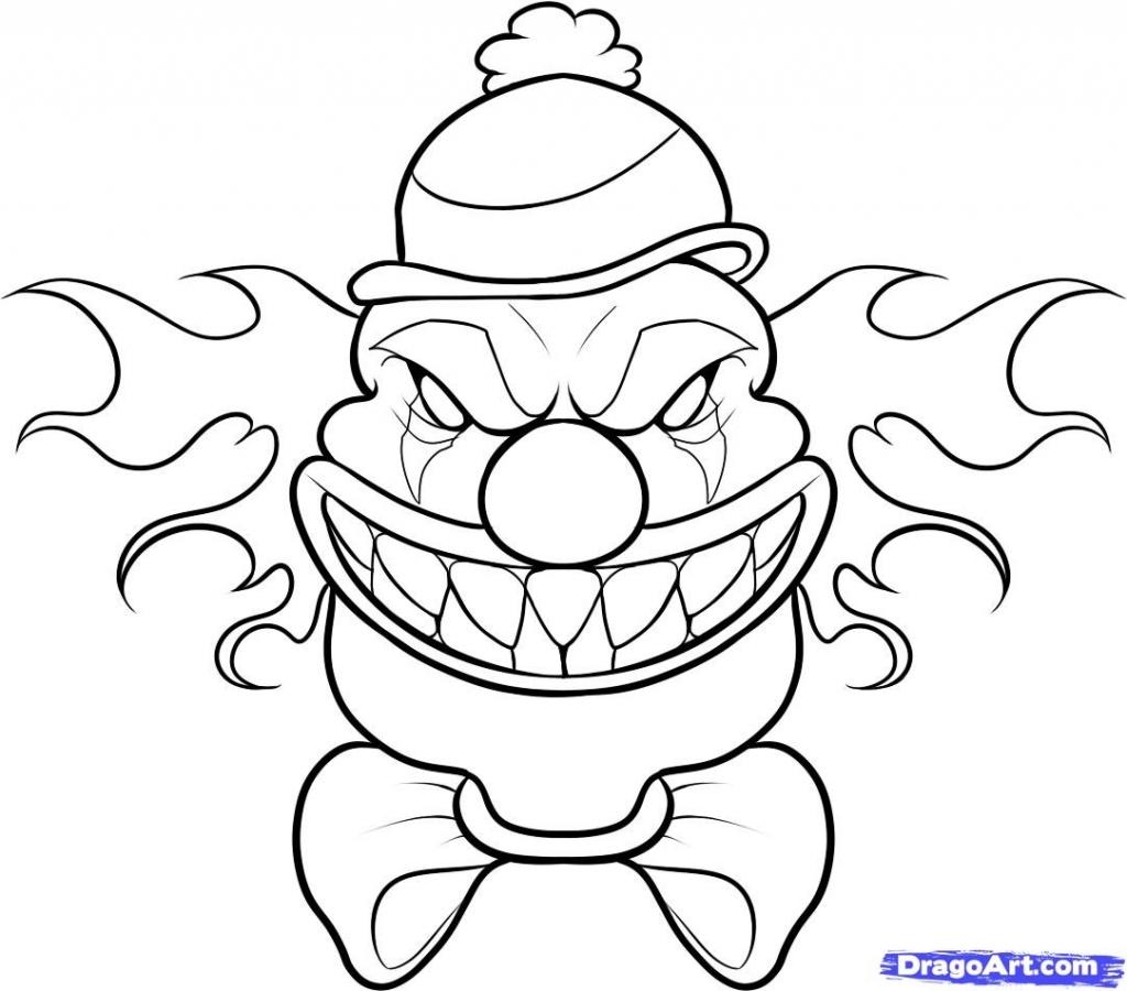 1024x900 Scary Clowns Drawings Evil Clown Drawings Step Step