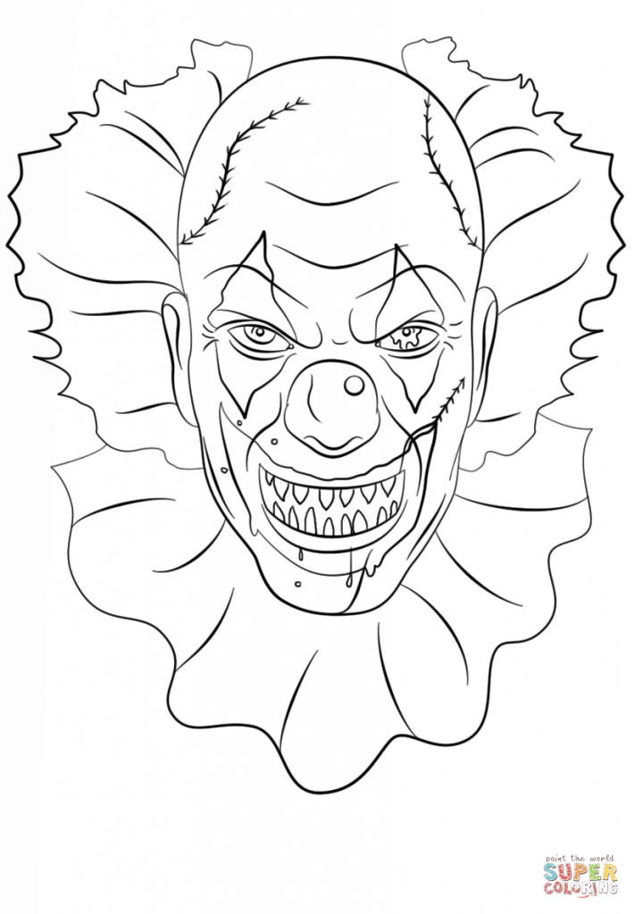 711x1024 Scary Clowns Drawings Scary Clown Coloring Sheets