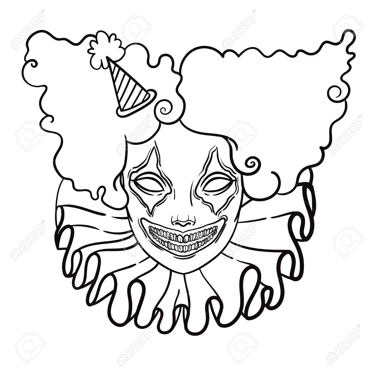 1300x1300 Vector Poster With An Evil Clown. Linear Illustration Of Halloween