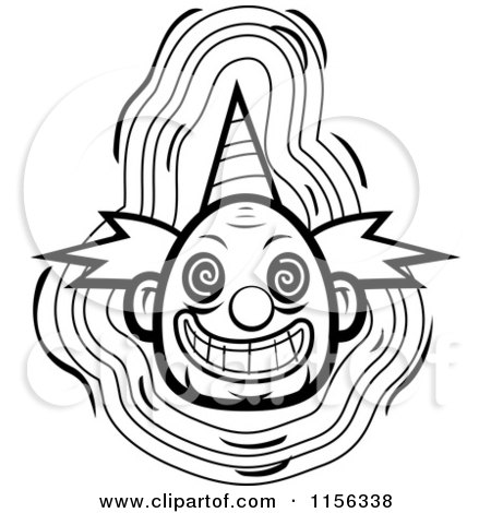 450x470 Cartoon Clipart Of A Black And White Evil Clown Face With A Party