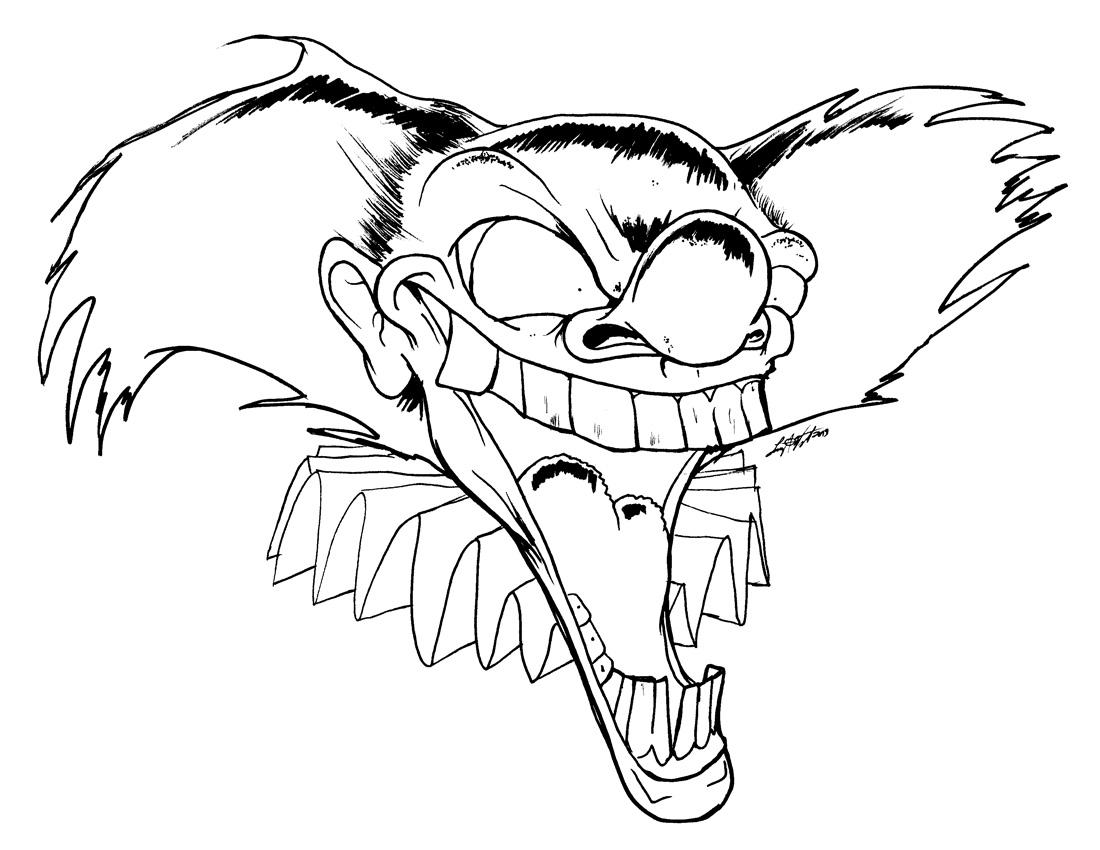 1100x850 Creepy Clown Coloring Pages 506249
