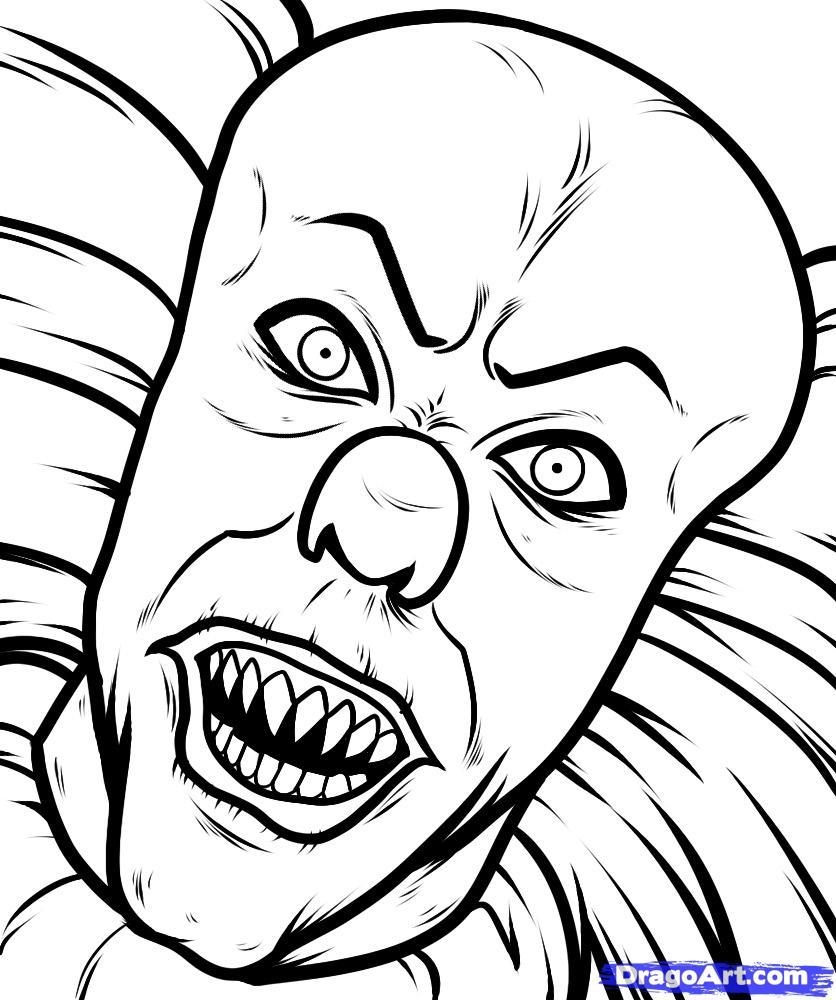 836x1000 Evil Clown Coloring Page Free Download